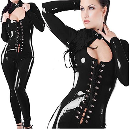 CDSS Wet Look Latex Body Tuta Stretti  Clubwear Catsuit