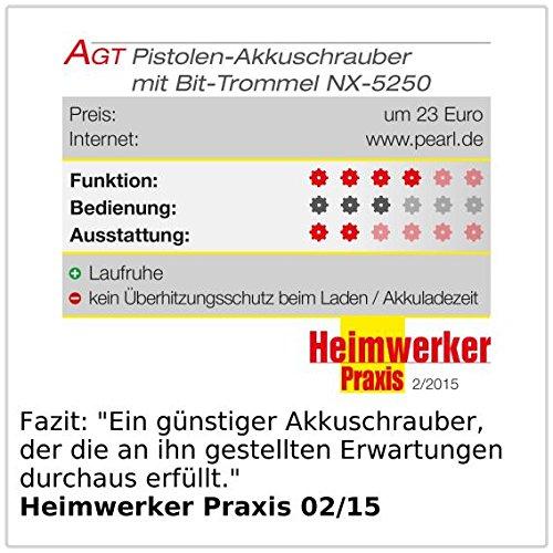 AGT Professional Mini-Akkuschrauber mit 3,6V/ 1,5 Ah & Bit-Trommel - 6
