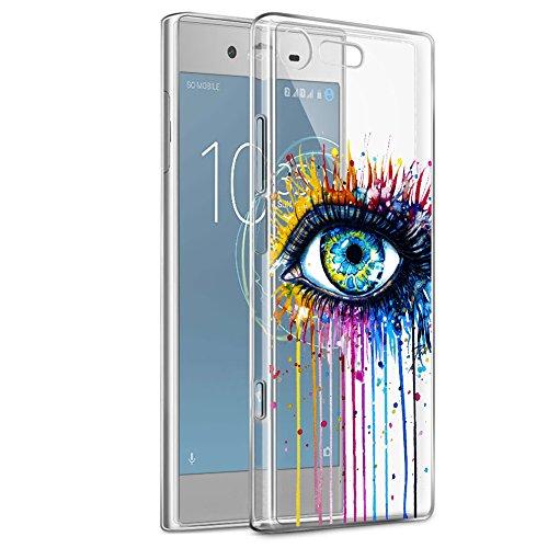 Eouine Funda Sony Xperia XZ1, Cárcasa Ultrafina Silicona 3D Transparente con Dibujos [Antigolpes] Gel TPU Protector Bumper Case Cover Fundas para Movil Sony Xperia XZ1 (Ojo)