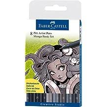 Faber-Castell 167107 - Pack de 8 rotuladores para dibujo Manga Pitt Basic Set, estuche básico, tonos negros y grises