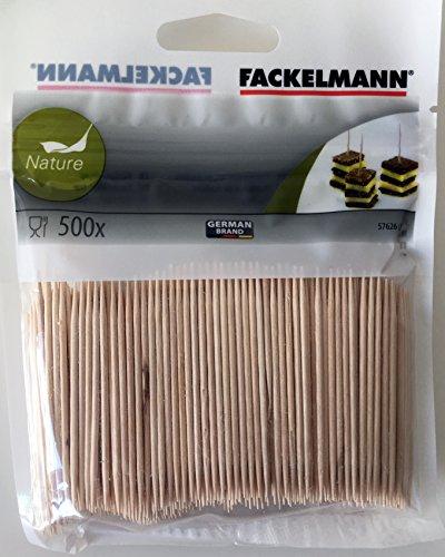 FACKELMANN 57626 Zahnstocher, Holz 6,5 cm, 500 Stück