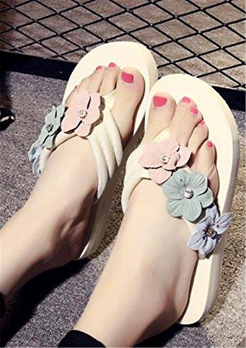 Boowhol Damen Zehentrenner Blumen Sommerschuh Badeschuhe Flip-flops mit absatz Weiß