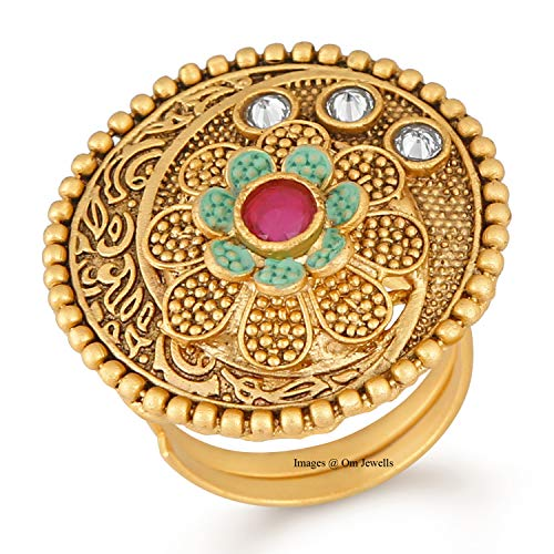 Om Jewells Traditional Ethnic Jewellery Red and Green Meenakari Adjustable Cocktail Ring for Girls and Women FR1000957