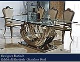 Designer Esstisch Edelstahl Esszimmer Tisch Glastisch Glas Hochglanz (160cmx90cmx75cm)