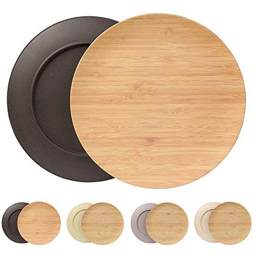 Ensemble durable creuse assiette Kaufdichgrün I Assiette pour enfants et de camping en bois de bambou pour le dîner I 4 pièces d'assiette plate ronde 25,5 cm anthracite, sans BPA