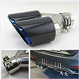 CVERY Tubo di Scarico Universale in Fibra di Carbonio, Doppio Tubo di Scarico a Bocca Tonda, per Auto, 63 mm, Blu, Come Mostrato, Taglia Libera