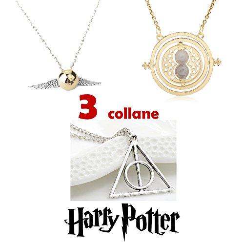 NCE 3X Collane BOCCINO D'ORO ALI D'ARGENTO - GIRATEMPO - I DONI DELLA MORTE della saga HARRY POTTER Quidditch Hogwarts Grifondoro Hermione