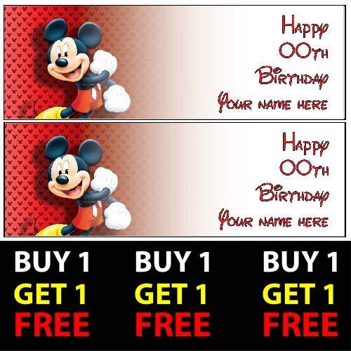 ELITEPRINT Mickey Mouse Buy 1 Gratis-Geburtstagsbanner 100 g/m² für Kinder Jungen Mädchen Geburtstag Party (Mickey-maus Gratis)