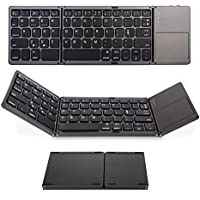 Bluetooth Keyboard with Touchpad, Jelly Comb B-003 Foldable Tri-fold Triple Wireless Ultra-Slim Portable Bluetooth 3.0 Keyboard [QWERTZ UK Layout] with touchpad for Tablets and Smartphones