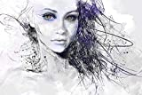 Startoshop Bilder, Verlockende nachleuchtende Leinwand Bild, das Mädchen aus Träume, Kunstdruck fertig auf Keilrahmen gespannt 80 cm x 120 cm
