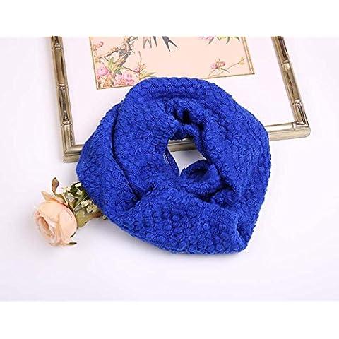 MEICHEN-días de otoño e invierno de lana tejida de maíz bib abarca los dos primeros anillo bufanda mujer,azul Royal