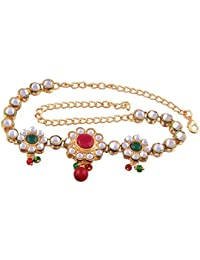 I Jewels Gold Plated Kundan Designer Bajubandh Jewellery Set for Women (PB03QG)