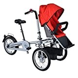 JHSHENGSHI Passeggino per Bici Doppio Bambino,Bicicletta per Bici per Bambini,2 in 1 Passeggino gemellare per Bici Pieghevole Triciclo Pieghevole Due posti Usato Unisex Adulto,Red