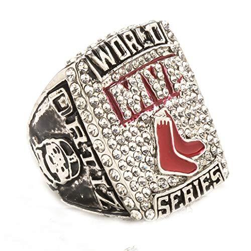 Uezenu Herren Silber Das Jahr 2013 Rot Socke Diamant Kristall Baseball Titan Stahl Meisterschaft Ringe,Größe 65 (20.7)