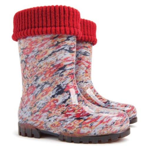 DEMAR - Kinder Gummistiefel mit Socken / Regenstiefel / Gartenschuhe - TWISTER LUX PRINT (Blumen, 30/31)