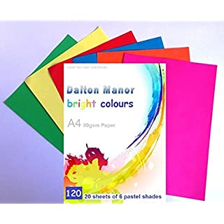 A4 Assorted 80GM Coloured Bright Paper 120 Sheet Pack 6 Colours