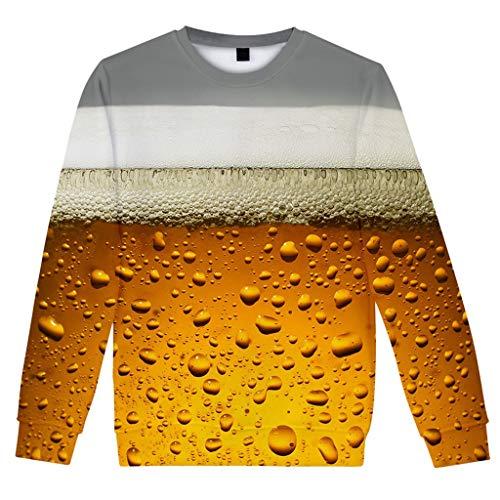 Herren Pullover Rundhals-Ausschnitt | Beer 3D Grafik Sweat Winter Männer Longsleeve | Pulli Sweatshirt Langarmshirt Crew Neck | Jungen Hoodie T-Shirt Langarm Oversize -