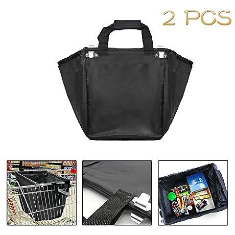 Woson supermarché courses, sacs réutilisables Shopping Sac chariot Express chariot de courses avec crochets, Toile, noir, Small
