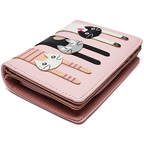Portafoglio Donna Grande Pelle Cute Cat Borsa Pink