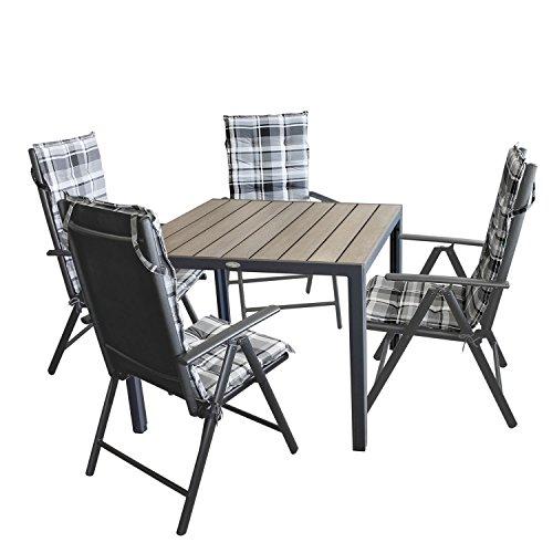 9tlg. Gartengarnitur Bistrotisch, Polywood Tischplatte grau, 90x90cm + 4x Hochlehner, Textilenbespannung, Lehne 7-fach verstellbar + 4x Stuhlauflage grau kariert / Gartenmöbel Terrassenmöbel Set Sitzgarnitur Sitzgruppe