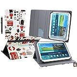 Emartbuy Wolder miTab Pro + 10.1 Pulgadas HD Tablet PC Universal ( 10 - 11 Pulgadas ) Juguete Pueblo Ángulo Múltiples Ejecutivo Folio Funda Carcasa Con Ranuras Para Tarjetas+ Lápiz Óptico