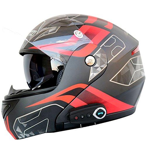 JPFCAK Motorrad Bluetooth Headset, Stereo-Sound, Kommt mit FM, Männlich und Weiblich, Double Lens Offenen Gesichts Helm, Cruiser, City, Roller Helm, Sport, ECE-Zertifizierung, L-2XL,Black-XXL=63-64cm Stereo Helm Headset