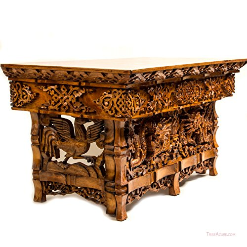 de Handgeschnitzt Altar Tisch Klein Meditation Puja Sheesham Holz Individuell Drache ()