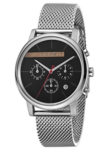 Esprit Herrenuhr Vision Black Mesh Chronograph 3 Bar Analog Chrono Datum Edelstahl Silber ES-1G040M0045 -