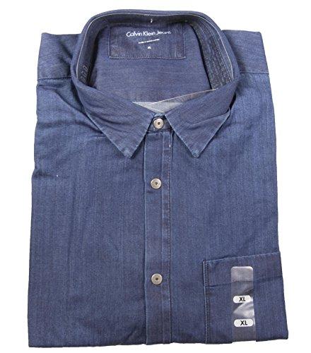 Calvin Klein Jeans Denim Herren Hemd (M, Blue) (Hemd Langarm Calvin Klein)