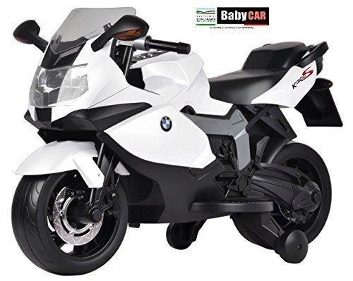 Babycar 283b - Moto Elettrica per Bambini BMW K 1300 S con Rotelle Incluse, 12 Volt, Bianco
