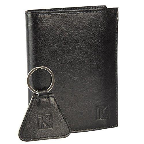 TK 1979 - Portefeuille homme cuir noir - Porte clés cuir - PACK CADEAU - Noir
