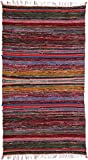 Exotic India Multicolor Dhurrie with Woven Stripes - Pure Cotton
