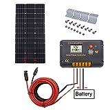 ECO-WORTHY Kits de inicio 100W 12V para módulos solares Módulo Fotovoltaico monocristalinos con controlador de carga en sistema independiente de la red