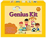 Genius Kit : A complete Math, English, GK Kit for 4 year olds (11 items in box : Early Learning Book -2 , 6 puzzle sets, puzzle board, 0-999 number calendar, early math board, place value chips)