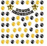 #5: Theme My Party Birthday Black/Gold Decoration Combo