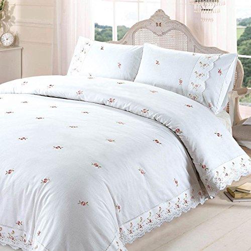 Sophie Parure de lit avec Housse de Couette brodée à Bordure en Dentelle Polycoton Motif Floral Taille Super King
