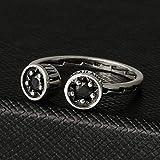 Aoligei Einstellbarer Ring Ring Vergoldet 925 Silber Pentagramm Schwarz Achat Offener Ring