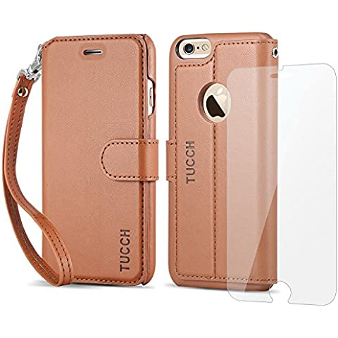 Funda iPhone 6S, Funda iPhone 6, TUCCH Funda Piel con Gratis Protector Pantalla para iPhone 6S/6, Soporte Plegable, Ranuras para Tarjetas, Estilo Folio, Cierre Magnético, Color Marrón