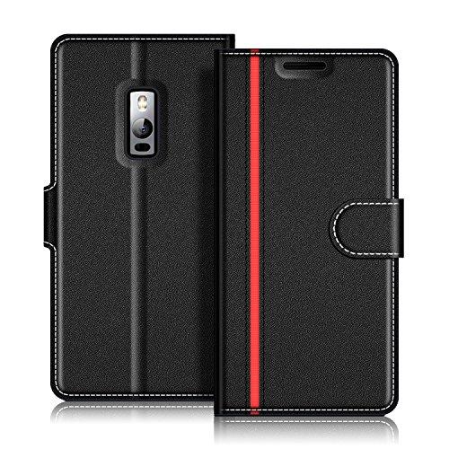 COODIO Handyhülle für OnePlus 2 Handy Hülle, OnePlus 2 Hülle Leder Handytasche für OnePlus 2 Klapphülle Tasche, Schwarz/Rot