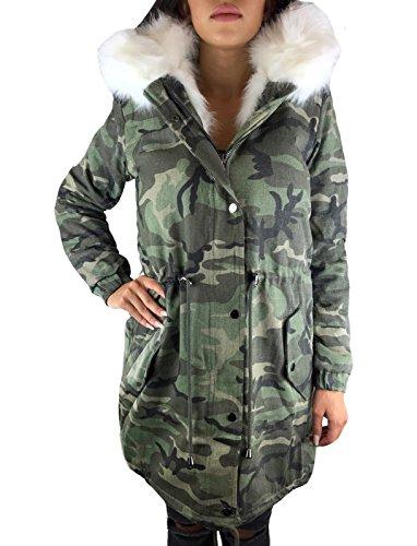 Worldclassca Parka Damen Winter Jacke MIT Patches XXL KUNSTFELL PINK ROSA Kapuze Mantel Fashion Jacket Blogger MIT REIßVERSCHLUSS GEFÜTTERT WARM Army GRÜN Military Army (L, Camouflage Weiß)
