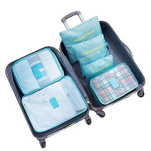 Travel Storage Taschen,Lommer 6Pcs Wasserdichte Verpackung Cube Clothes Pouch Gepäck Organizer--Wassermelone rot Hauptblau