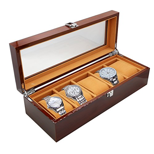 KINGONE Uhrenbox holz herren Watch Storage Display Box Luxus-Uhrengehäuse mit zarten Mustern Gentle Faux Leder Inside Storage Schmuck Organizer (Holz 5 - Holz-uhr-schmuck-box