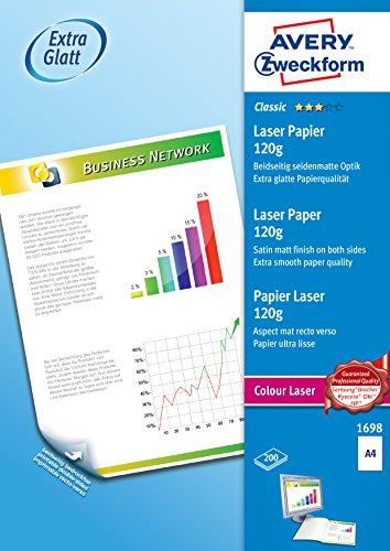 Avery Zweckform 1698 Classic Colour Laser Papier (A4, extra glatt beschichtet, satiniert, 120 g/m²) 200 Blatt