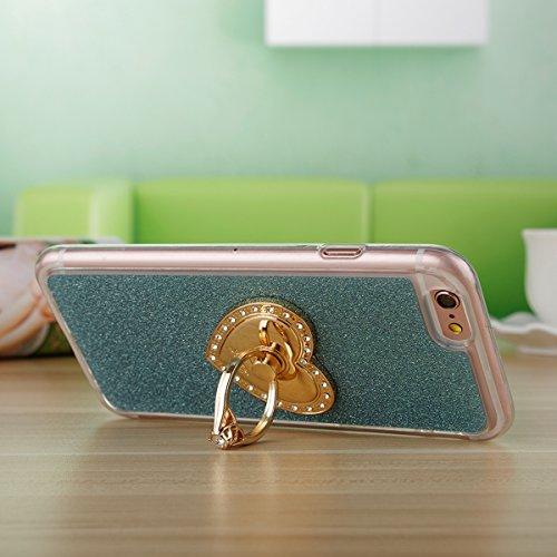 """Etsue Glitter Silikon Schutzhülle für iPhone 7 4.7"""" 2016 TPU Case mit Metall Ring Ständer, Bling Glitter TPU Bumper Case Sparkles Glänzend Glitzer Silikon Crystal Case Soft Rückseite Cover Shinning Ba Glitter mit Ständer,Grün"""