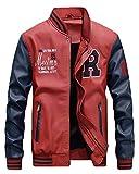 QitunC Hombres Cuero De La PU Chaqueta De Béisbol Impresión Fleece Forrado Cazadora Abrigo Rojo XS