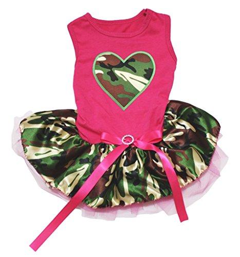 o Herz Hot Pink Baumwolle Shirt Camouflage Tutu 1Hund Kleid ()