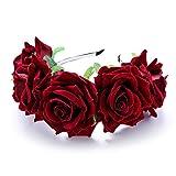 XCSSKG Flor Corona Rosa Flor Disfraz Diadema Flor Mujeres Niñas Hoop Rojo Rojo