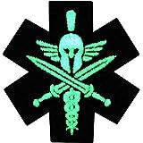 EmbTao Taktisch Medizin Spartanisch Moral Bestickter Glühen Im Dunklen Aufnäher Zum Aufbügeln/Annähen