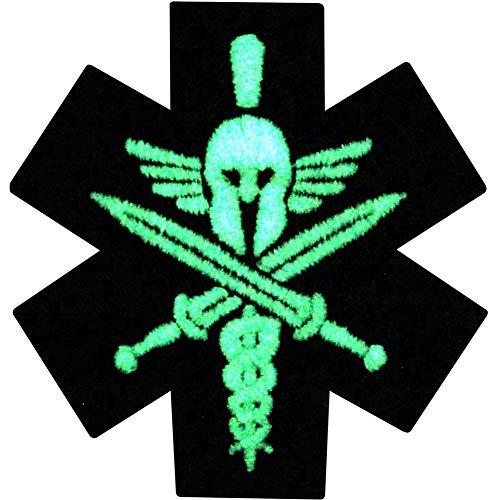 Medizin Kostüm Mann - EmbTao Taktisch Medizin Spartanisch Moral Bestickter Glühen Im Dunklen Aufnäher zum Aufbügeln/Annähen