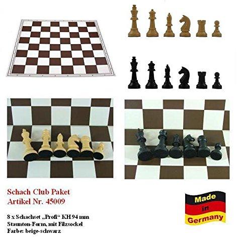 Schach Club Paket XXL 'Profi' beige-schwarz mit 8 x Schachbrett + 8 x Schachfiguren KH 94 mm, Staunton Form